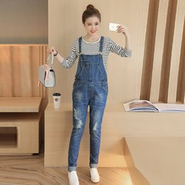 ae91cc95707 Ripped Hole Washed Denim Maternity Bib Jeans Jumpsuits Clothes for Pregnant  Women Autumn Fashion Pregnancy Overalls Pants