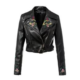$enCountryForm.capitalKeyWord Australia - Autumn Women PU Leather Jacket Coat Floral Embroidered Ladies Short Motorcycle Jacket Fashion Women Long-sleeve Jacket