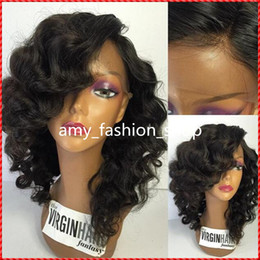 Virgin Brazilian Human Hair Wigs Canada - Side Part Glueless Bob Lace Front Wigs 100% Virgin Brazilian Short Full Lace Human Hair Wigs For Black Women With Baby Hair