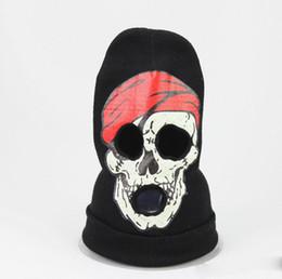 dd2515cc952 Skull 3 Hole Face Mask Beanie Winter Warm Ski Snowboard Knitted Caps Wear  Balaclava Full Face Cover Mask Halloween Cosplay Costume