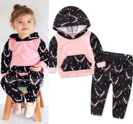 Boutique De Ropa Para Niños Baratos-2017 Girls Baby Childrens Clothing Sets Cartoon Hoodies Tops Pantalones 2 Unids Conjunto Otoño Toddler Boutique Infantil Pantalones Ropa Outfits