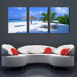 $enCountryForm.capitalKeyWord Canada - Coconut Tree on Sea Beach Seascape Painting Canvas Prints Wall Art Decor 3 Panel on Canvas Ready to Hang for Home Office Decoration