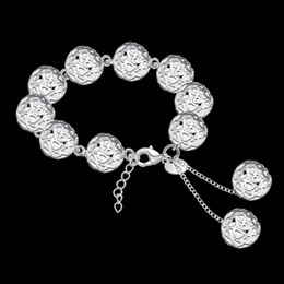 Ruby Bracelet Sterling Silver NZ - 1.4CM Hollow Balls bracelets Women's Jewelry 925 sterling silver 20.5cm bangles H088 gift Pouches