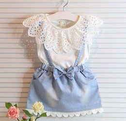 Mini Tenue De Dentelle Pas Cher-Costume Set New Enfants Enfants Tenues Girl Dress 2016 Summer Lace Blanc T-shirt bébé Denim Jupe Kid Dress Costumes Enfant Vêtements Vêtements pour enfants