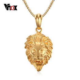 $enCountryForm.capitalKeyWord NZ - New 18K Gold Plated Men's Necklace Rock Punk Foundry Lion Head Charm Pendant Necklace Free 60cm Chain