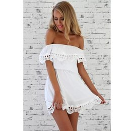 Barato Sweet Sundresses Senhoras-Elegant Off Shoulder Dress para Lady Vintage White Sweet Dress Elegante Sexy Slash Neck Slim Beachwear Summer Black Lace Sundress Vestidos
