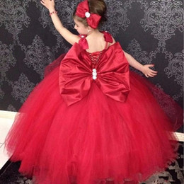 $enCountryForm.capitalKeyWord NZ - Red Ball Gown Spaghetti Flower Girl Dresses With Big Bow Tulle Beaded First Communion Dresses Lace Up Back Girls Pageant Gowns For Wedding