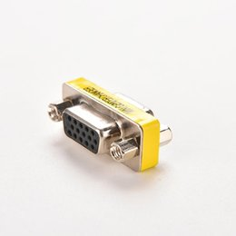Discount sub d pin - Wholesale- 15 pin D-Sub VGA HD SVGA Female to Female MINI Gender Changer Adapter PC VGA Female Connector F F Cable Exten