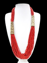Discount amber carvings - 27'' Ethnic Red Bead Long Necklace Multilayer Carved Hollow Flower Woman Gift oyzz-0010