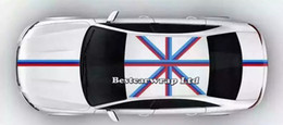 Bonnet Stickers Canada - Blue white red Flag Hood Stripes Car Stickers Decal for Bonnet, Roof, Trunk for Volkswagen Mini DIY Car decals 15cmx30m Roll