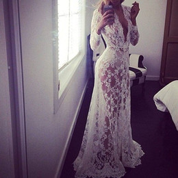 $enCountryForm.capitalKeyWord Canada - New 2016 Pregnant Women Sexy Lace Embroidery Long Maxi Dress Long Sleeve Deep V Neck See Through Vestidos White Floor-Length Plus Size S-4XL