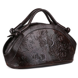 large duffel bag women UK - Genuine leather women Leisure large shoulder bag female Retro Printing Messenger bags women Cowhide Flowers sports travel handbag