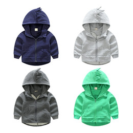 EmbroidErEd sports jackEts online shopping - 2017 Embroidered Dinosaur Hoodies Zipper Kids Autumn Winter Children s Boys Girls Unisex Baby Coats Outdoor Sport Jackets Outfits T