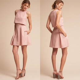 Barato Vestidos De Noite-Two Pieces Pink Cocktail Dresses Com Bolsos Sexy Short Jewel Neck Evening Gowns A Line Mini Party Dress