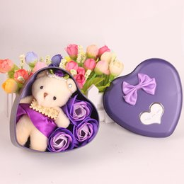 Colourful Soap Flower Teacher Day Gift Lovely Little Bear Doll Heart Box Birthday Present For Wedding Decorate Supplies 4 5mw C R & Teacher Birthday Gifts Online Shopping | Teacher Birthday Gifts for Sale