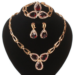 Wholesale New Coming Ruby Austrian Crystal Jewelry Sets Necklace Bracelet Earrings Ring Wedding Party Costume Jewelry Set Boxes