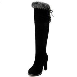 93bbf9246c5ba winter hot sale new arrive women boots black flock zipper over the knee  boots lace up super high ladies boots