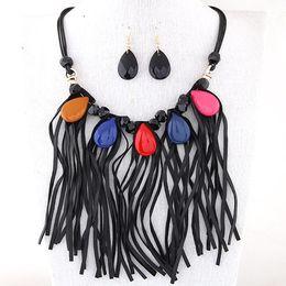 $enCountryForm.capitalKeyWord Canada - New Rope Chain Jewelry Set Tassel Pendant Choker Statement Necklace Earrings Set Jewelry For Women Bijoux Party Accessories