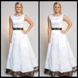 Discount Cheap Camo Formal Dresses White Wedding A Line Floor Length Ribbon Bridal