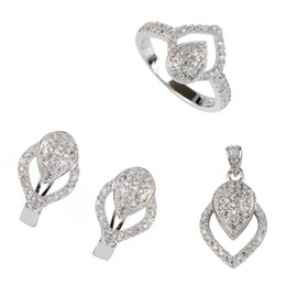 Copper Earrings Australia - Copper Rhodium Plated Cute heart set (ring earring pendant) White Cubic Zirconia Noble Generous MN3234set sz#6 7 8 9 Recommend New pattern