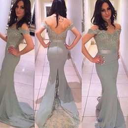 Train À Sirène En Satin Argenté Sirène Pas Cher-Robes de bal 2016 Hot New Sweetheart Cap Sleeves Lace Appliqued Beads Mermaid Silver Sweep Train Sheer Formal Party Dress Robes de soirée