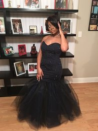 Sirène Courbe Chérie Noire Pas Cher-Elegant Beaded Mermaid Black Girl Robes de bal 2016 Sweetheart Robe en tulle à la robe Robes de soirée Custom Made with Lace up