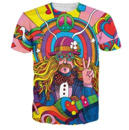 China New Fashion Womens Mens Hippie Musician Funny 3D Print Casual T-Shirt JK183 supplier hippie shirts suppliers