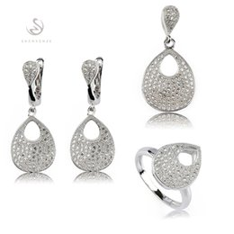 Copper Earrings Australia - Copper Rhodium Plated Cute heart set (ring earring pendant) White Cubic Zirconia Noble Generous MN3216set sz#6 7 8 9 Classic The new product