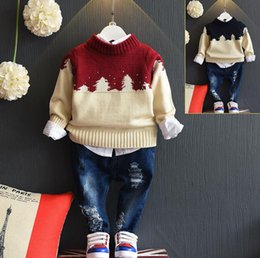 Pull Enfant Pull Rouge Pas Cher-Autumn Boys Sweater Baby Kids Tricots Tops Pullovers Enfants Tricots Pulls Vêtements pour enfants Red Blue 12274