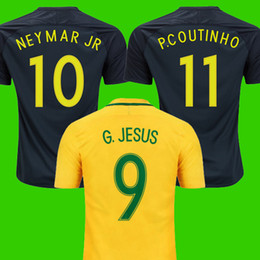 home yellow top thailand aaa quality national neymar jr coutinho g jesus soccer jerseys 2017 2018 br