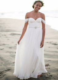 $enCountryForm.capitalKeyWord NZ - New Arrival A Line Beach Wedding Dresses Simple Chiffon Floor Length Bridal Gowns With Sparking Sash Off Shoulder Vestido De Noiva