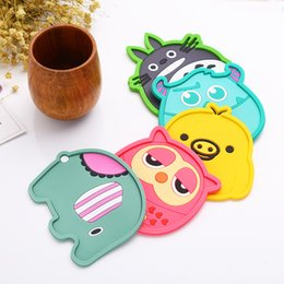PVC Cartoon Anti Slip Kawaii Cup Mat Mug Dish Bowl Placemat Coasters Base Kitchen Accessories Home Decor DHL Shipping Free