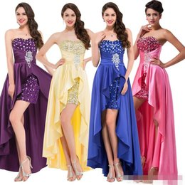 Robe Basse Pourpre Pas Cher-Nouveau robes de soirée Robe Haut Bas Soirée 2017 court avant perlée sequin Robes formelles Rouge Rose Violet Bleu royal beaucoup de couleurs à long WE53