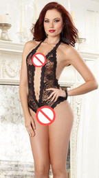 Barato Ver Através Do Bodystocking-New Arrivals Women Gauze Sexy Underwear See Through Lace Lingerie Open Crotch Erotic Bodystocking Bodysuit Roupa de dormir