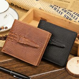 $enCountryForm.capitalKeyWord Canada - Hot Sale Fashion Cowhide Genuine Leather Alligator Grain Hasp Men Wallets Carteira 3 Folds Black Brown Coin Pocket Purse Wallet Free Shippin