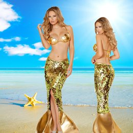 Barato Traje De Fantasia De Ouro-The Mermaid Dress Sexy Gold Sequin Bra e Long Fishtail Halloween Party Fancy Role Play Costume