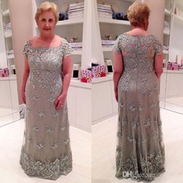 Winter Wedding Dresses Mother Bride Canada - Grey 2017 Mother Of The Bride Dresses Short Sleeves Lace Applique Pearls Beading Illusion Long Plus Size Evening Dress Wedding Guest Dresses