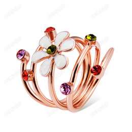 Band Paint Canada - Brand Cason High Quality Women Oil painting plum color crystal Band Ring Rose Gold Plated Multicolor Clour Drop Shipping RJ-0041