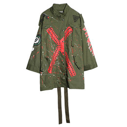 China Army Green Graffiti Print Rivet Trench 2017 Women Punk Military Street Coat Loose Ribbons Outwear LT169 suppliers