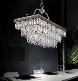 Retro Crystal Rectangular Lamps United States Village Rural Water Droplets Iron Chandelier Luxury European Style Loft Pendant Lights Affordable
