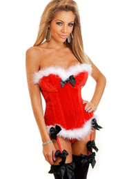 Fiesta Traviesa Vestidos Baratos-MOONIGHT Red Christmas Corset Top Sexy Ladies Santa Mujeres Naughty Adult Christmas Costume Party Dress Fancy Dress