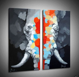$enCountryForm.capitalKeyWord Canada - 2PCS elephant Canvas ,genuine Hand Painted Contemporary Wall Decor Animal Cartoon Art Oil Painting. customized size accepted moore2012