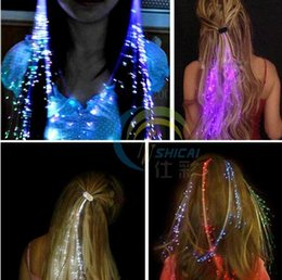 Barato Baile De Finalistas Trançado-Flash Cabelo LED Light Emitting Fibra Óptica Pigtail Braid Plait Luminous peruca de cabelo KTV Prom Party Supplies acessórios de cabelo cocar
