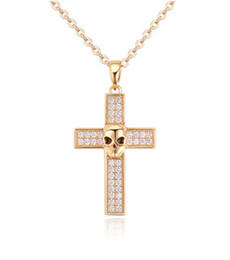 rose gold cross necklace men Australia - 18K Gold Plated Statement Necklace For Punk Men Fashion Women High Quality Zircon Cross Alloy Skull Head Pendant Necklaces