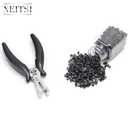 Shape Flat Canada - Neitsi 2pcs Micro Links Hair Extensions 1pc Flat Shape Black Color Pliers+ 500pcs Micro Rings Hair Styling Tools