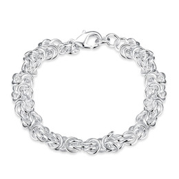 Mens 925 Silver Bracelet Canada - Beautiful Jewelry 925 Solid Silver Classic Hoop Chain Bracelets High Quality Cheap Shrimp Buckle Bracelet For Women Mens Factory Price