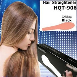 Hot Pink Hair Combs Canada - 2016 HOT Hair Straightener Flat Iron HQT-906 Hair iron Straightening Brush Hair Styling Tool comb With LCD WHITE PINK US EU UK AU