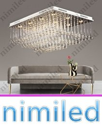 Discount rectangular ceiling lights - nimi740 L68cm*W50cm*H31cm Modern Rectangular Crystal LED Ceiling Lamp Living Room Bedroom Hall Lights Restaurant Hotel C