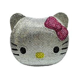 Black leather cat purse online shopping - Cartoon Cat Face evening bag cartoon girl Handbags animal crystal Clutch bag diamond party Purse ladies prom handbag