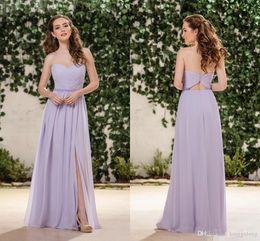 China Jasmine Lilac Lavender Chiffon Bridesmaid Dresses Sweetheart Side Split Floor Length Junior Bridesmaids Dresses Wedding Guest Dresses cheap lilac junior bridesmaid suppliers